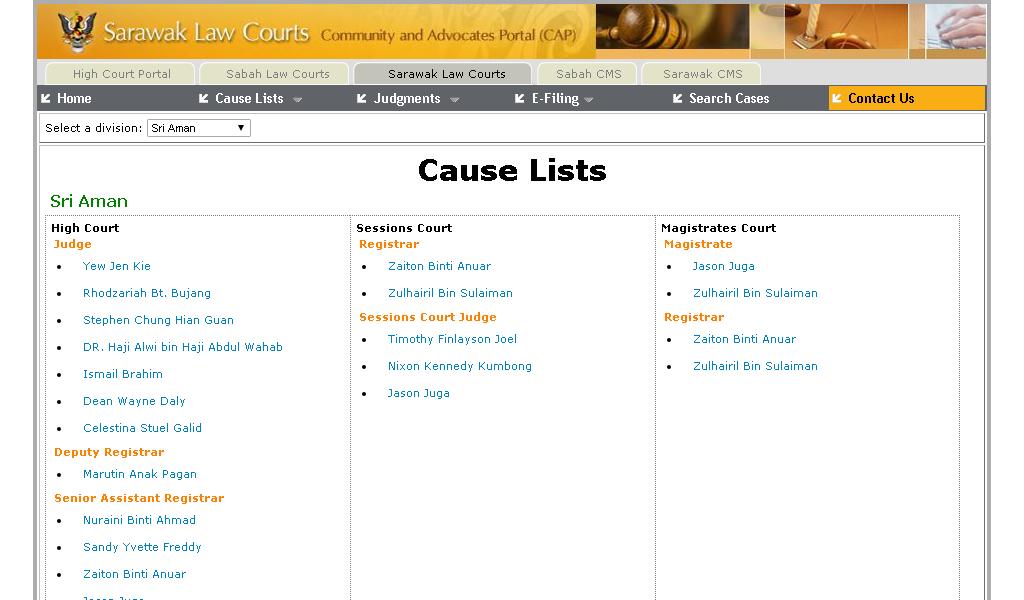 High Court - Cause lists