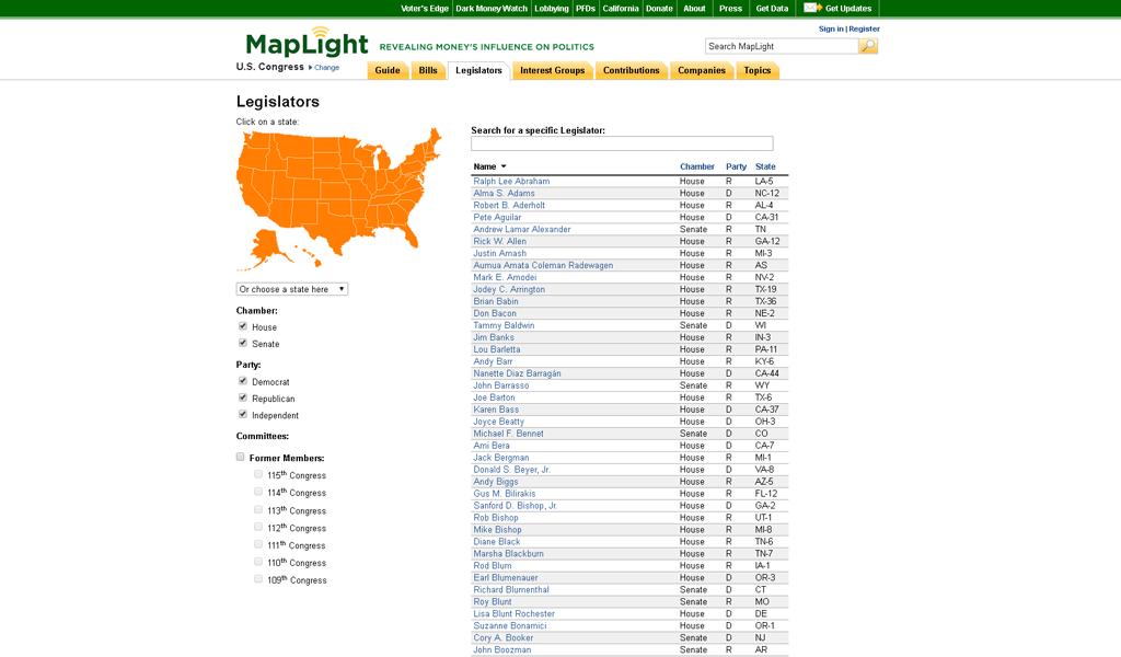 MapLight - Legislators