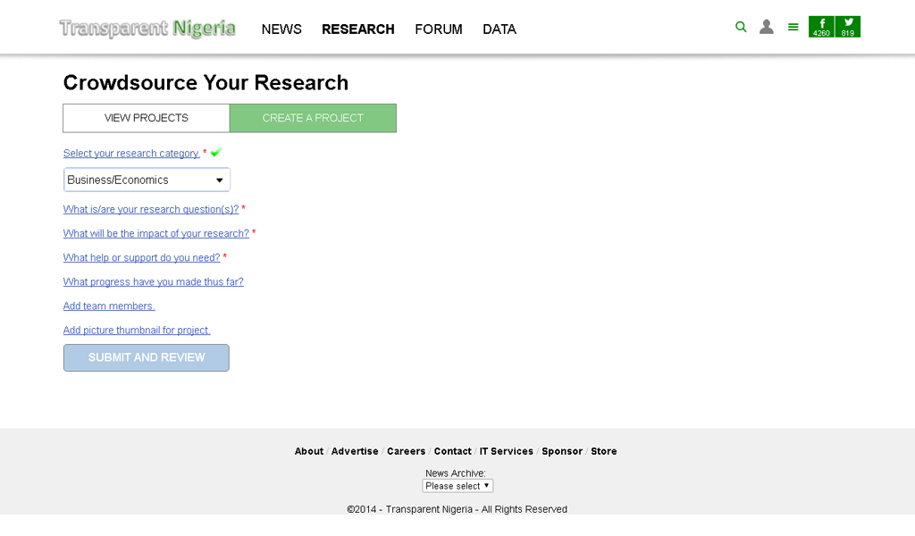 Transparent Nigeria - Create