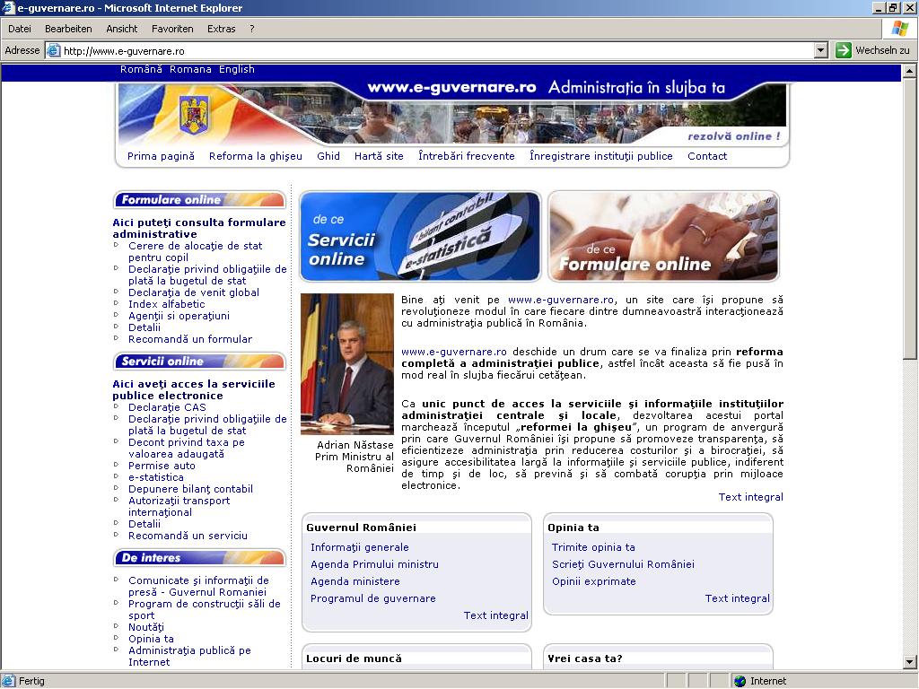 Romanian e-Government Gateway | WSA